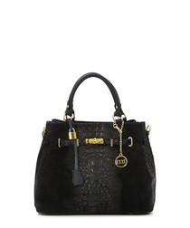 Black moc-croc leather grab bag