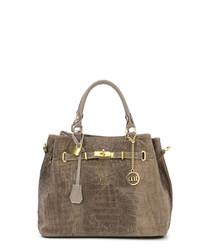 Taupe leather moc-croc grab bag