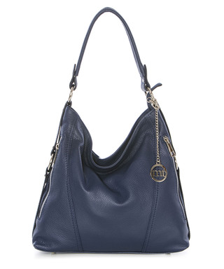 cbbad9e79e8f mia tomazzi. Navy leather slouch bag