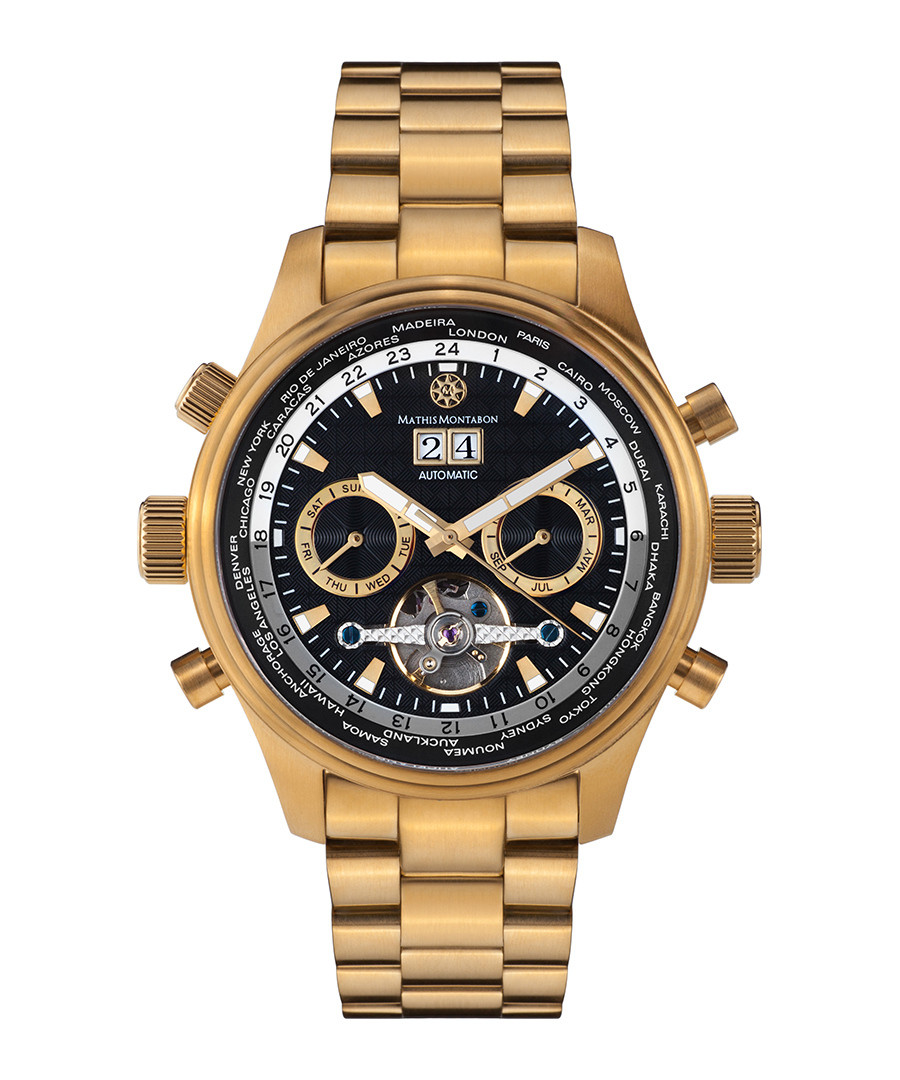 Globe Trotter gold-tone & black watch Sale - mathis montabon