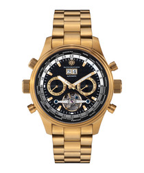 Globe Trotter gold-tone & black watch