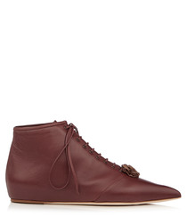 Rosette brown leather boots