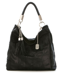 Black leather snake-effect shoulder bag