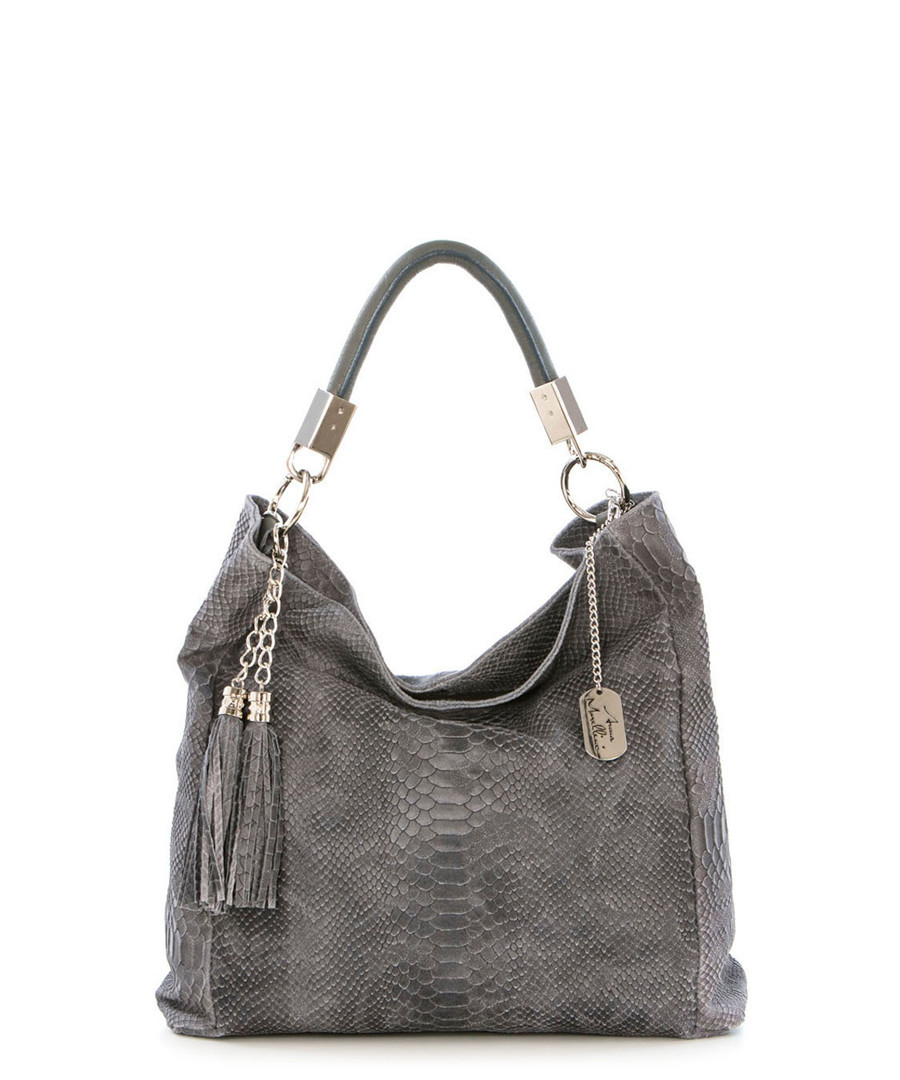 Grey leather snake-effect shoulder bag Sale - anna morellini