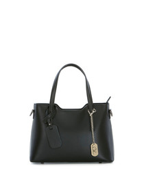 Black leather grab bag