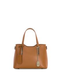 Tan leather grab bag