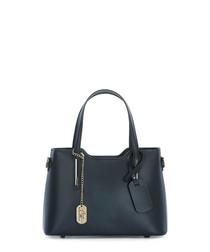 Navy leather grab bag