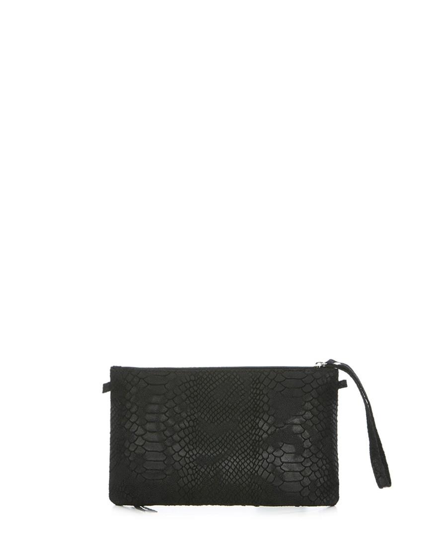 Black textured leather zip clutch  Sale - anna morellini