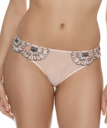 Dahlia blush cotton blend thong