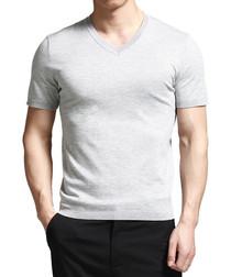 Light grey cotton blend V-neck T-shirt