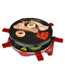 Red nonstick grill raclette