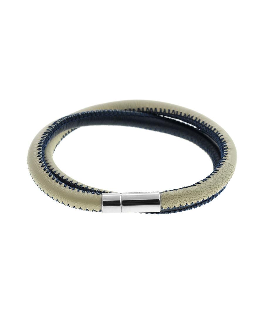 Blue stitched leather bracelet Sale - Tateossian London