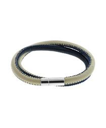 Blue stitched leather bracelet