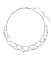 Silver-plated & crystal drape necklace