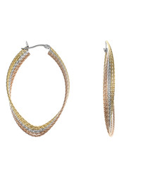 Tri-tone 18ct gold-plated oval hoops