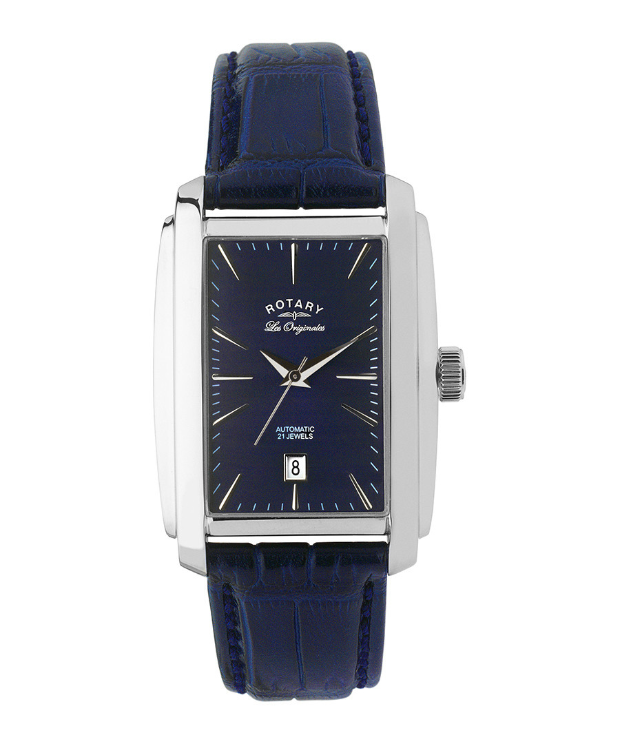 Navy leather & stainless steel watch Sale - Rotary