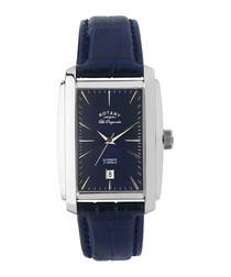 Navy leather & silver-tone watch