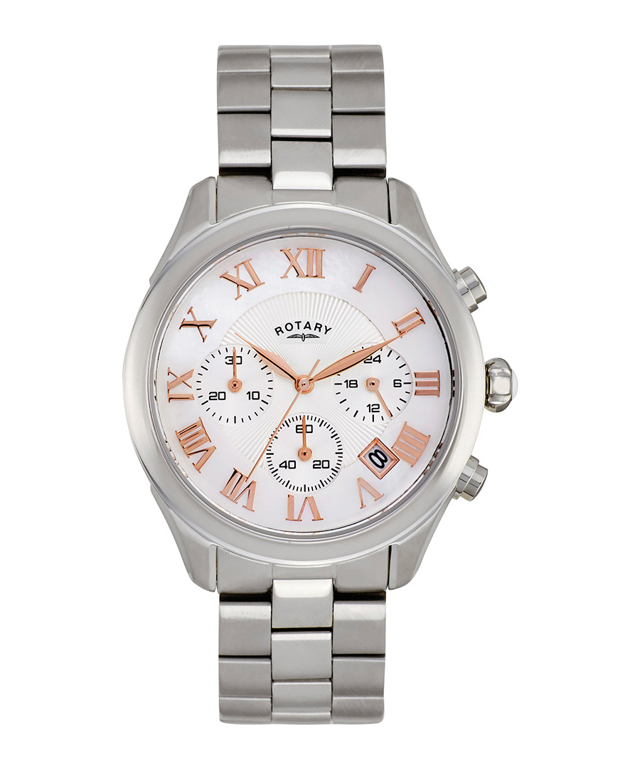 Silver-tone & white dial watch Sale - Rotary