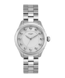Silver-tone round crystal watch