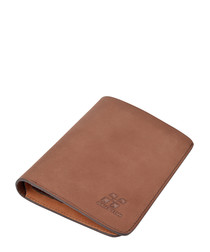 Brown leather foldover wallet