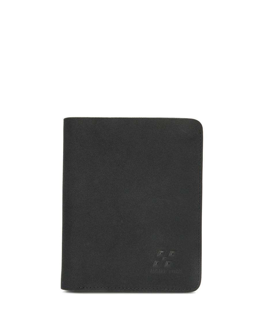 Black leather fold-over wallet Sale - woodland leathers