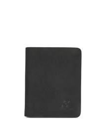 Black leather foldover wallet