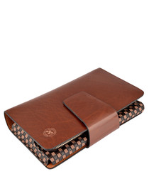 Chestnut brown leather tall wallet