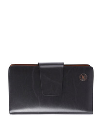 Black leather dual-compartment wallet