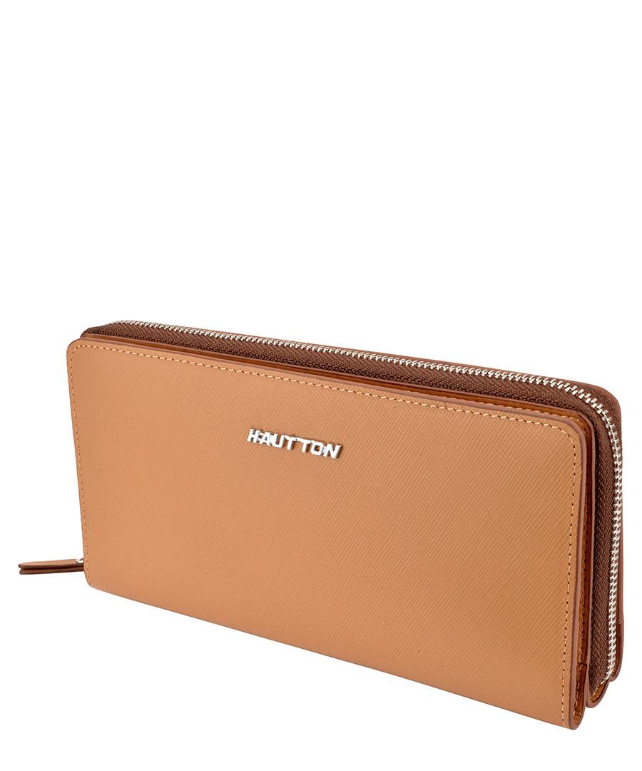 Tan leather zip-around wallet Sale - hautton
