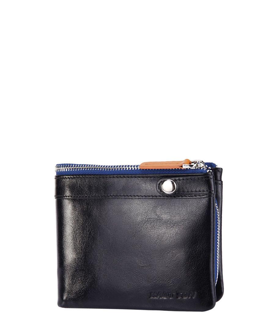 Black leather & blue zip fold wallet Sale - hautton