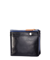 Black leather & blue zip fold wallet