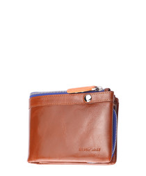 Tan leather & blue foldover wallet