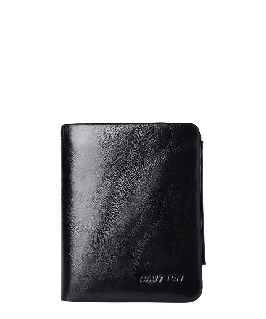 Black leather small foldover wallet Sale - hautton