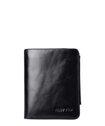 Black leather small foldover wallet