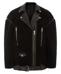 Black sheepskin & leather coat