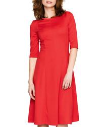 Red panelled half sleeve midi dress