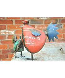 Red rooster large metal figure