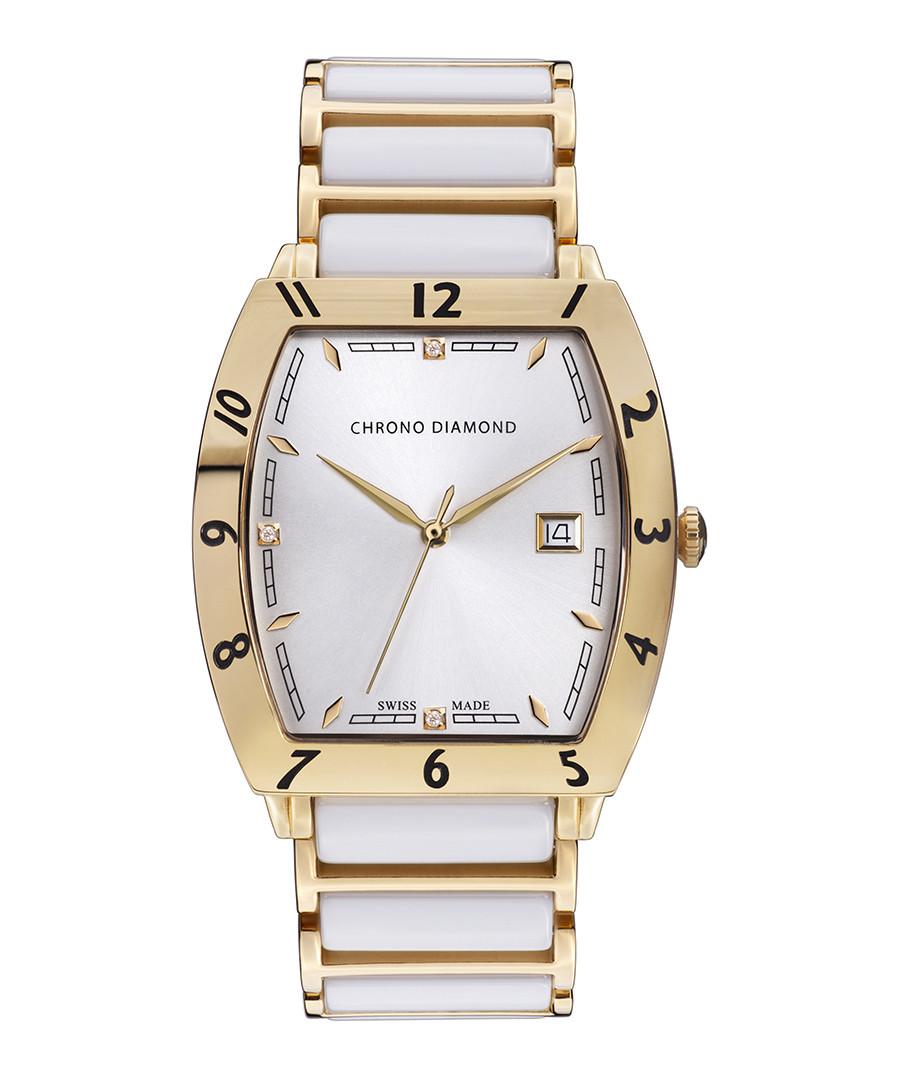 Leandro gold-tone steel & diamond watch Sale - chrono diamond