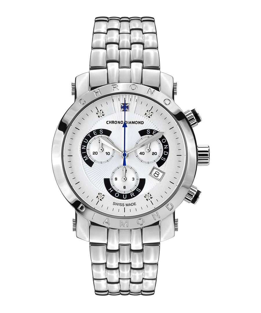Nestor white & silver-tone diamond watch Sale - chrono diamond