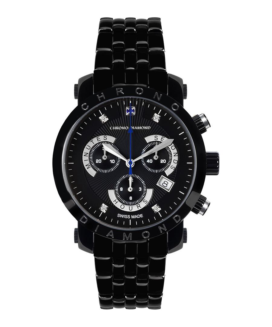 Nestor black steel diamond watch Sale - chrono diamond