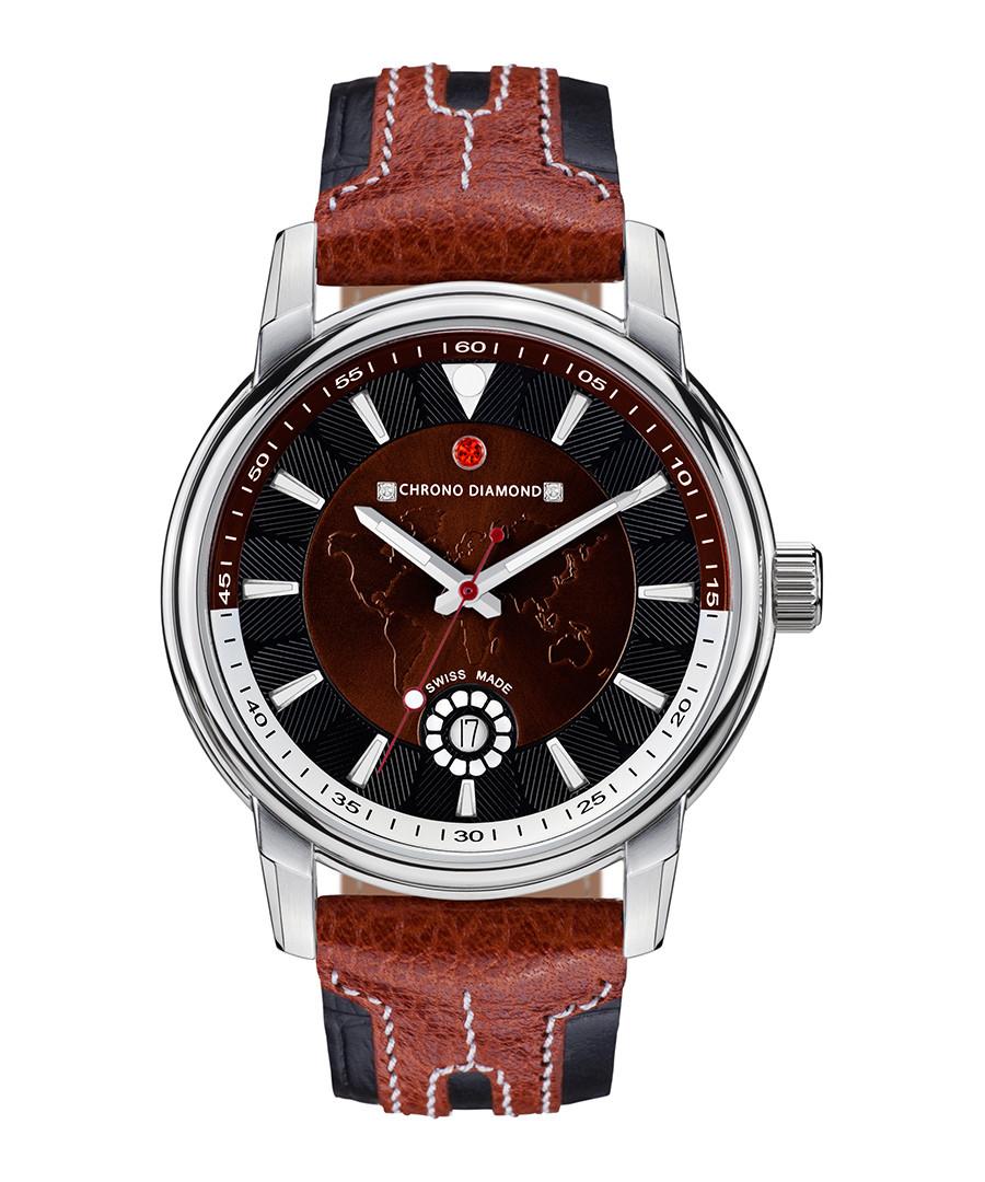 Nereus brown leather & diamond watch Sale - chrono diamond