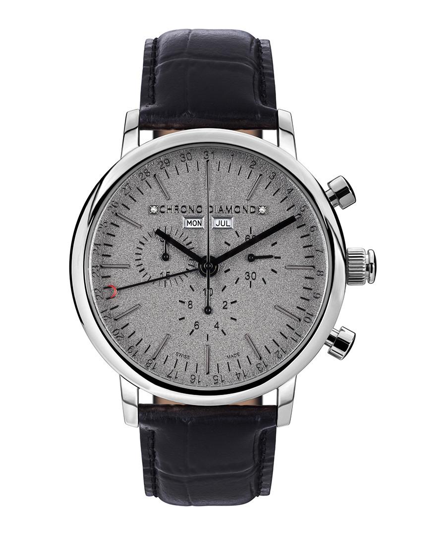 Argos black leather & diamond watch Sale - chrono diamond
