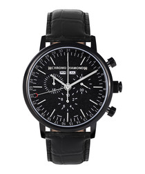 Argos all-black leather & steel watch