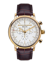 Argos brown leather & diamond watch