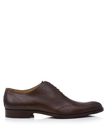 Forate brown leather brogues