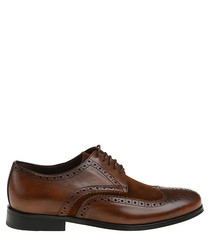 Brown patent leather lace-up brogues