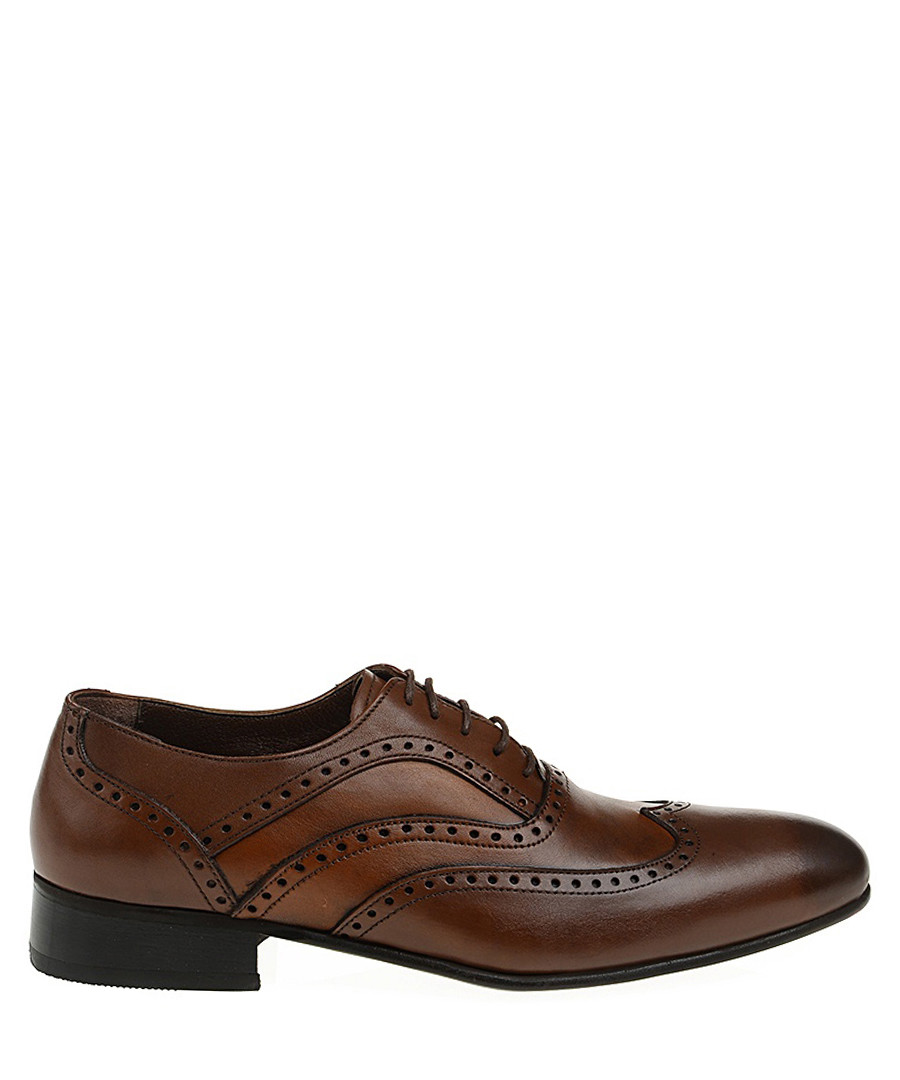 Brown leather brogue-style Derby shoes Sale - Baqietto