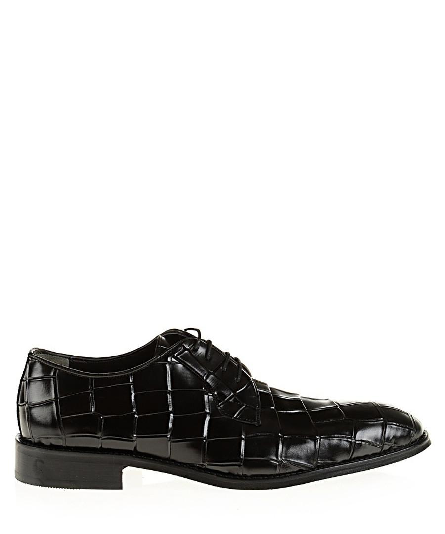 Black leather moc-croc Derby shoes Sale - Baqietto