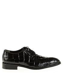 Black leather moc-croc Derby shoes