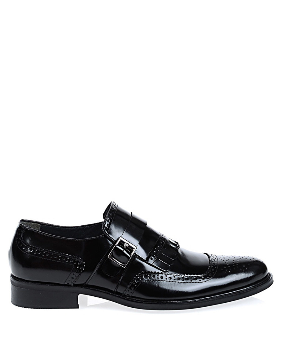 Black leather slip-on shoes Sale - Baqietto